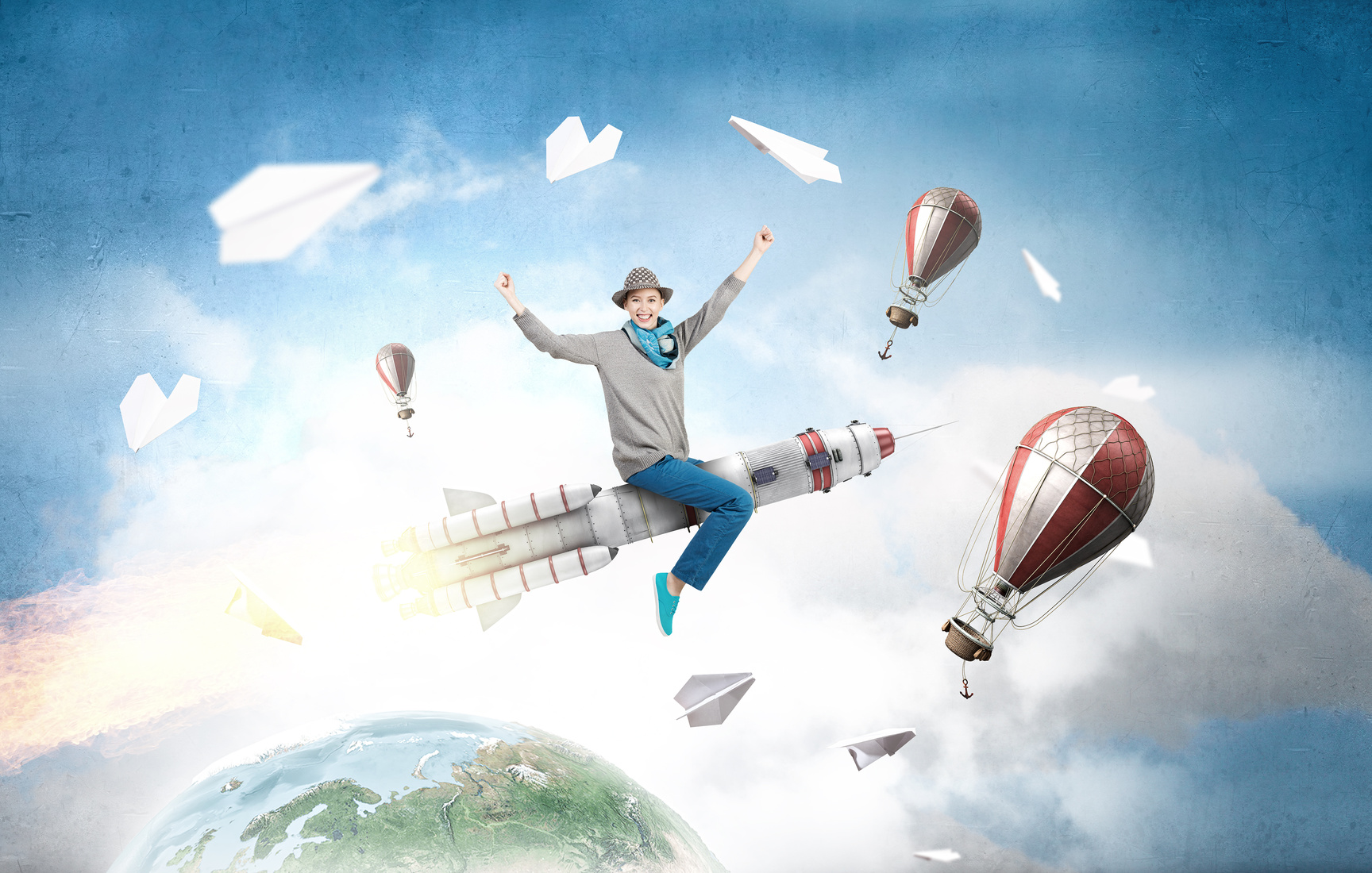 Young cheerful girl riding on rocket high in sky. Elements of this image are furnished by NASA