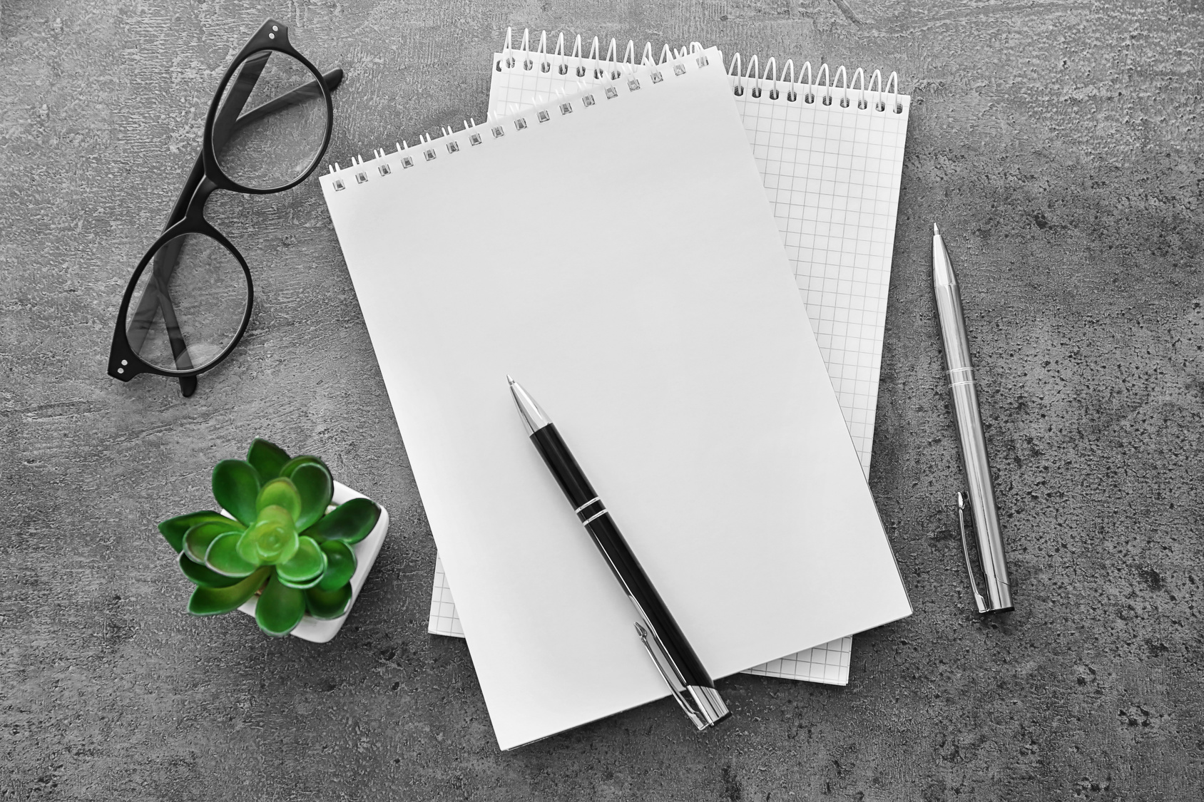 School notebook with glasses and green plant on table